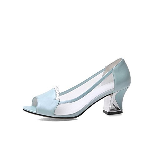 AllhqFashion Mujeres Tacón ancho Material Suave Sólido Sin cordones Peep Sandalia Azul