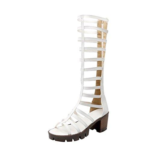 Romaines Chaussures Toe Eté Genou Hauteur Sandales Plateforme Youjia Blanc Peep Gladiateur Bottes Femmes 4fnqP