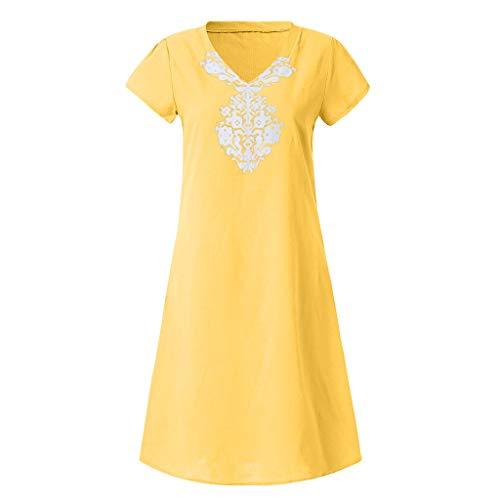 Style Femme D'été Coton Jupes shirt T 2019 Jaune Décontracté Robe Feminino Mode En Taille Linkay Plus La De AIznn