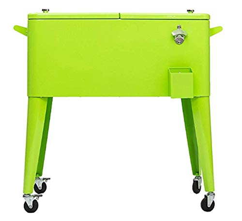 Permasteel PS-203-LIME-AM 80 Quart Portable Rolling Patio Cooler, Lime