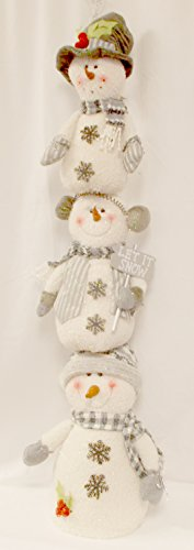 - Silver Snowman Stacker Plush Stuffed Winter Decor 48' NWT