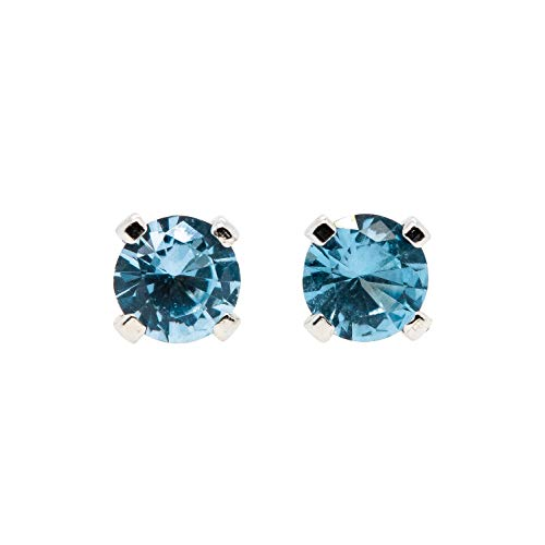 3mm Tiny Blue Zircon Stud Earrings in Sterling Silver - December -