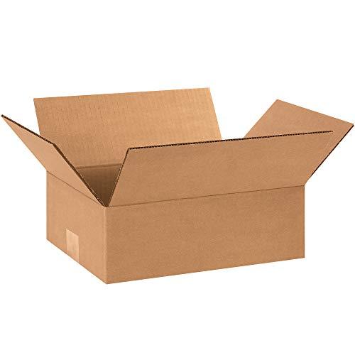 """Aviditi Flat Corrugated Box, 12"""" L x 9"""" W x 4"""" H, Kraft, Bundle of 25 (1294)"""