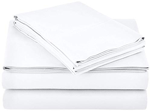 Unique-Bedding 4 PC Sheets Set Cotton, 600-Thread-Count Best 100% Cotton Sheets & Pillowcases, 16 Inch Deep Pocket of Fitted Sheet, White Solid, Twin Size