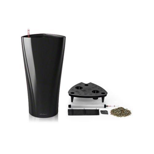 Lechuza EP-LDEL-BLA-16 16 x 30 in. Delta Premium Planter44; Black Gloss by Lechuza
