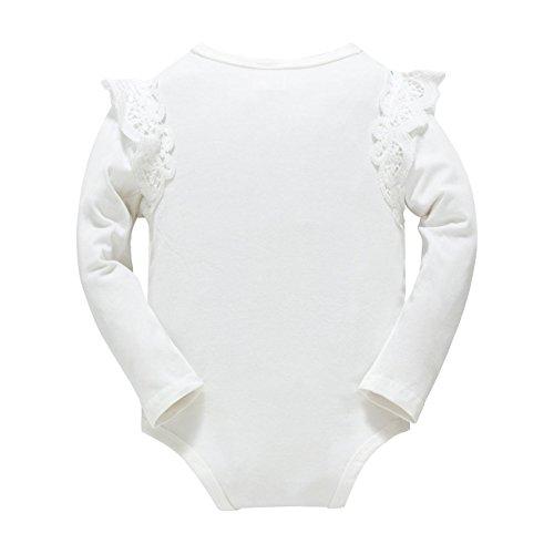 Huata Baby Girls Boys Long Sleeve Onesies Bodysuit Baby Romper (White, 12-18 Months)