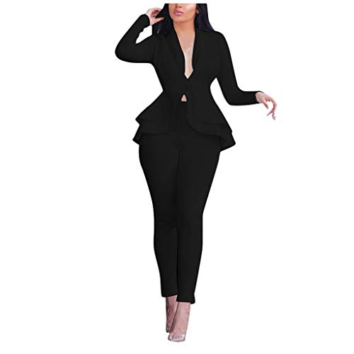 Womens 2 Piece Outfits,Mesh Patchwork Long Sleeve Blazer Jacket Wide Leg Long Pants Suits Black