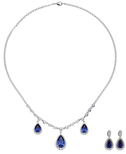 Fine Silver Plated Bronze Tanzanite Blue Cubic Zirconia Necklace and Stud Earrings (Cubic Zirconia Tanzanite Jewelry Set)