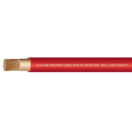 6 Gauge Premium Extra Flexible Welding Cable 600 Volt - EWCS Brand - RED - 15 FEET - Made in the USA! by EWCS