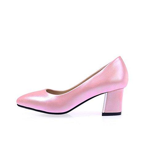 BalaMasa Girls pointed-toe low-cut tomaia hi-face pumps-shoes, Rosa (Pink), 35 EU