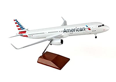 Daron Skymarks American A321 Airplane Model with Wood Stand & Gear (1/100 Scale)