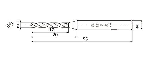 Mitsubishi Materials MWS0150LB MWS Series Solid Carbide Drill 5 mm Hole Depth Internal Coolant 3 mm Shank Dia. 0.3 mm Point Length 1.5 mm Cutting Dia
