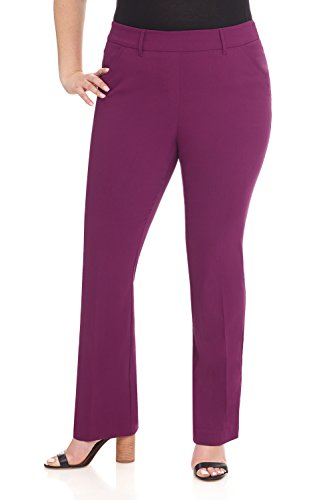 Rekucci Curvy Woman Ease in to Comfort Fit Barely Bootcut Plus Size Pant (20WSHORT,Aubergine) ()