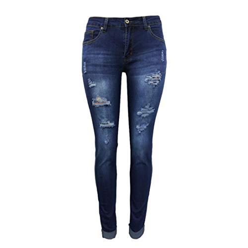 Denim Scuro Fit Dragon868 Pantalone Jeans Donna Strappati Metà Blu Slim Vita Casual A FCSw4