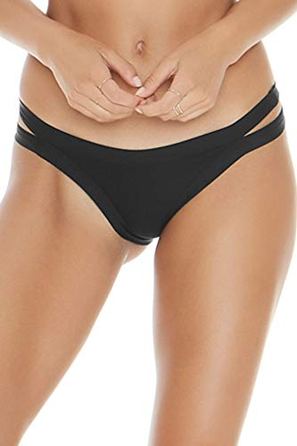 LSpace Women's Charlie Ribbed Tab Side Hipster Bikini Bottom Black XS