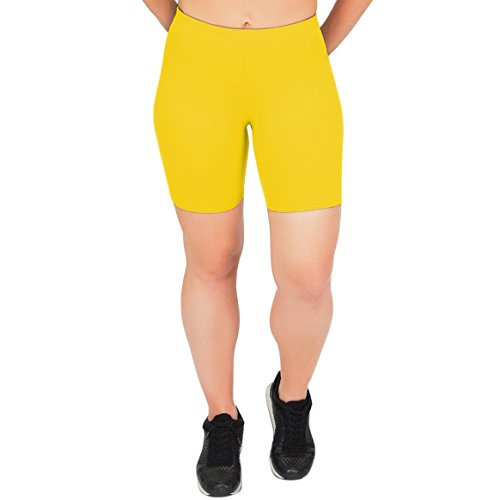 Stretch is Comfort Women's Cotton Stretch Workout Biker Shorts Medium Yellow (Yellow Stretch Shorts)