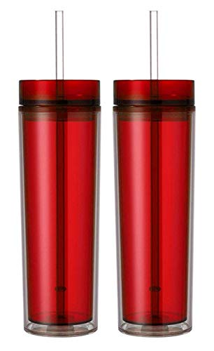 Slim Insulated Double Wall 16oz Plastic Travel Tumbler, Pack of 2 (Red)
