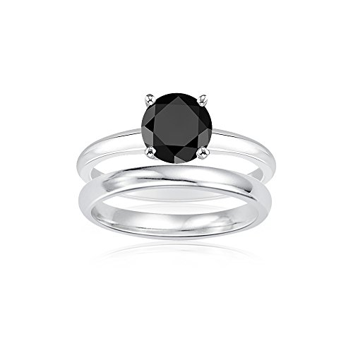 Holiday Deal On 2.00 Cts Black Diamond Engagement and Plain Wedding (3mm comfort fit) Ring Set in Sterling Silver-8.0 by Vogati