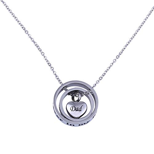 Necklace Double Heart Rose Cylinder Pendant Souvenir Ashes Mom & Dad Ring Chain for Persent (AA)
