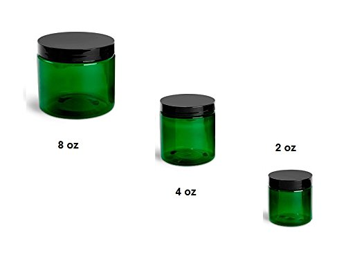 QTY 30 - 4 Oz Green Plastic Container Black Cap (4 oz)
