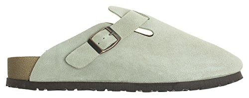 Annakastle Womens Classic Clog Backless Slip On Fannullone In Camoscio Color Grigio Kaki
