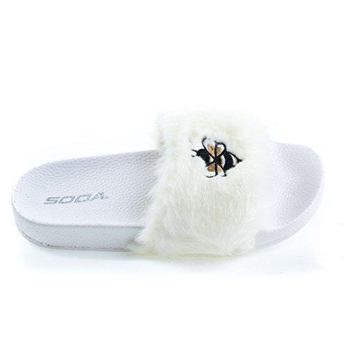 Soda Girl's Open Toe Furry Slip on Rubber Sandal, White, 1 M (Furry Slip Ons)