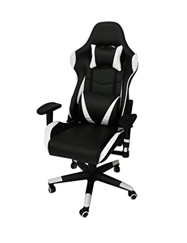 Gaming Chair Office Chair High Back Computer Chair PU Leather Desk Chair PC Racing Executive Ergonomic Adjustable Swivel Task Chair with Headrest and Lumbar Support (White-Black) 50 x 48 x 138 cms