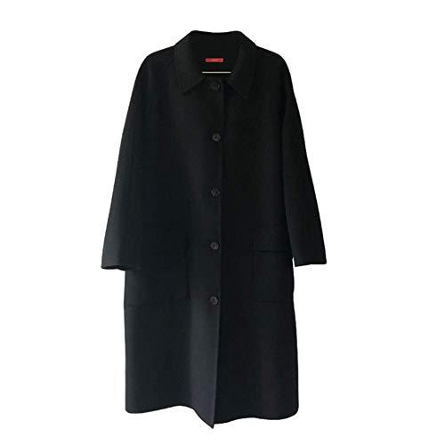 Black Risvolto black Morbido Le Signore Sezione Sciolto Cappotto Peloso Liscio Zyg Faccia gg Lunga Struttura Doppia Addensare anpxHSFq
