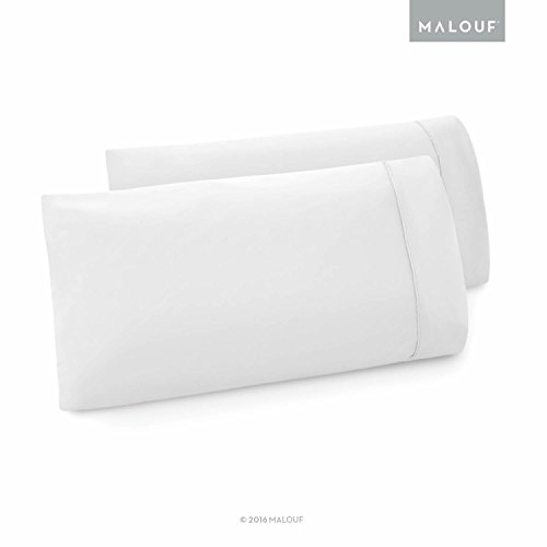 MALOUF Double Brushed Microfiber Super Soft Luxury Pillowcase Set - Wrinkle Resistant - Queen Pillowcases - Set of 2 - White