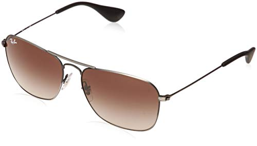 Ray-Ban RB3610 Rectangular Metal Sunglasses, Matte Black Antique/Brown Gradient, 58 ()
