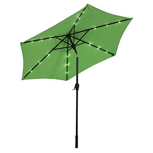 (AI-LIN 9Ft Led Lighted Patio Market Umbrella Outdoor Solar Powered Table Umbrella, 6 Ribs (Light Green))