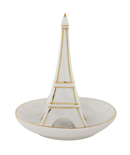 Creative Co-op DA6924 White Stoneware Ring Dish with Eiffel Tower & Gold Detail (Tower Ring Eiffel)
