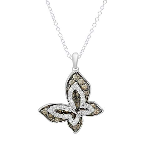Dazzlingrock Collection 0.95 Carat (ctw) 14K Round Champagne & White Diamond Butterfly Pendant 1 CT, White Gold