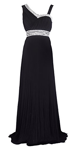 Licoco Women Sleeveless Beaded Semi-Formal Long Maxi Evening Gown Wedding Dress (Black37, Large)