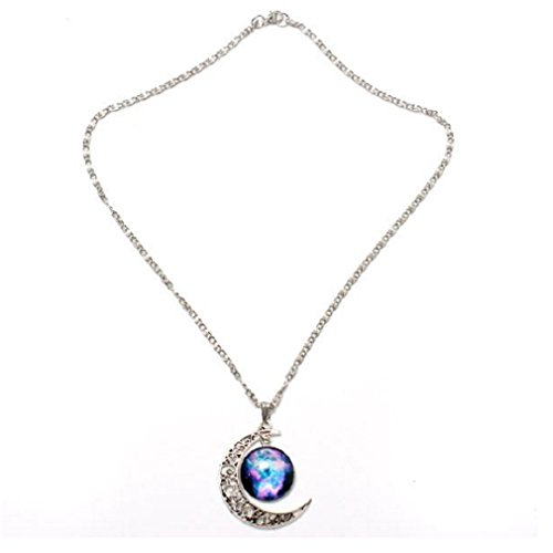 Crescent Glass Pendant (#11 Galaxy Moon Universe Glass Cabochon Crescent Pendant Chain Necklace by 24/7 store)