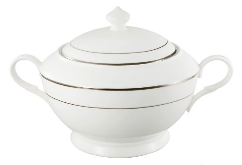 Lorren Home Trends La Luna Collection Bone China Silver Design Soup Tureen with Lid by Lorren Home Trends ()