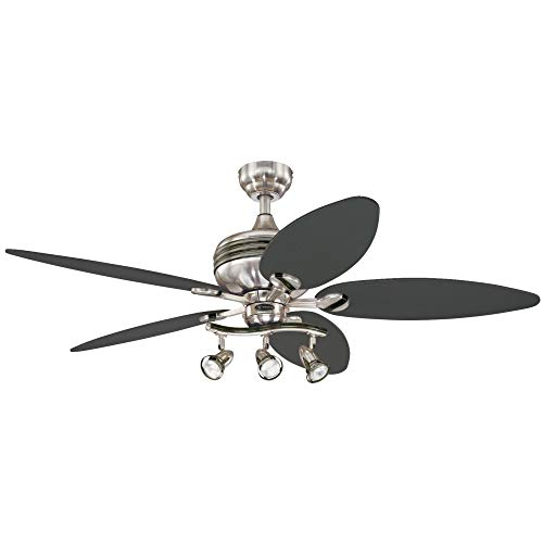 Westinghouse 7234220 Xavier II 52-Inch Five-Blade Indoor Ceiling Fan with Three Spot Lights, Brushed Nickel with Gun Metal Accents (Renewed)