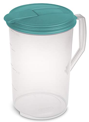 Sterilite 0488 One-Gallon Round Pitcher, Clear Base with Blue-Atoll (Teal) Lid and Tab