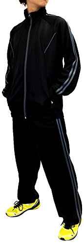 Skkone Men's Tracksuit 2 Line Track Jacket and Pants 2 Pieces Set (Small(S), Black/Gray)