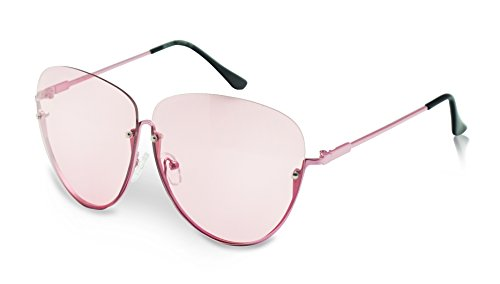 Large Flat Semi Rimless Gold Trim Aviator Tear Drop Style Color Transparent Sun Glasses (Pink / Pink Lens, - Nyc See Eyewear