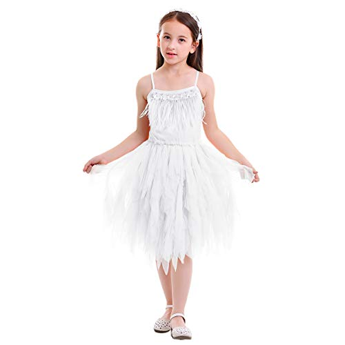(IBTOM CASTLE Little/Big Girls Sequins Feather Fringes Layered Ruffled Flower Girl Birthday Party Easter Pageant Tutu Dress Short Tiered Gown White 2-3)