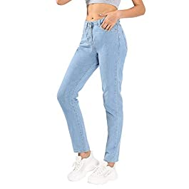Jmitha Women's Boyfriend Jeans Straight-Leg High Waist Mom Denim Pants