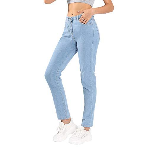 (Jmitha Women's Boyfriend Jeans Straight-Leg High Waist Mom Denim Pants (US 8-Short, Light Blue))