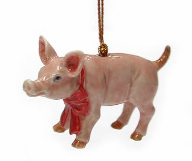 PIG Pink w red Bow Christmas Ornament MINIATURE PORCELAIN NORTHERN ROSE R260