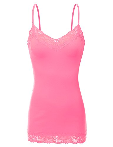 (XT1004L Ladies Adjustable Spaghetti Strap Lace Trim Long Tunic Cami Tank Top Rose-Pink 3XL)