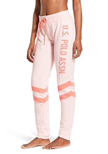 U.S. Polo Assn. Womens French Terry Double Stripe Jogger Lounge Sleep Sweatpants Pajamas Light Pink Heather X-Large