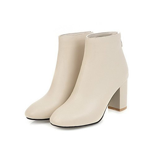 VogueZone009 Damen Rein Hoher Absatz Rund Zehe Blend-Materialien Reißverschluss Stiefel, Schwarz, 32