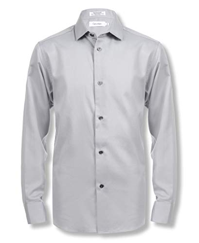 Calvin Klein Boys' Big Long Sleeve Sateen Dress Shirt, Grey, -
