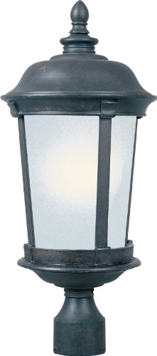 - Maxim 85092FSBZ Dover EE 1-Light Outdoor Pole/Post Lantern, Bronze Finish, Frosted Seedy Glass, GU24 Fluorescent Fluorescent Bulb , 40W Max., Wet Safety Rating, Standard Dimmable, Glass Shade Material, 1344 Rated Lumens