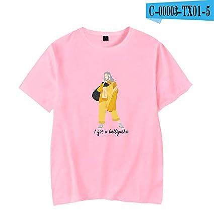 1 Pcs Billie Eilish T Shirt Tee Shirt Unisex 3D Print Letter Print Hip Hop Novelty Spring Summer Winter Fall for Music Lovers Fashion Fans 046 Pink,XXXL